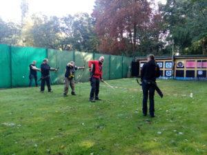 Die Schützen haben Spaß beim einschießen